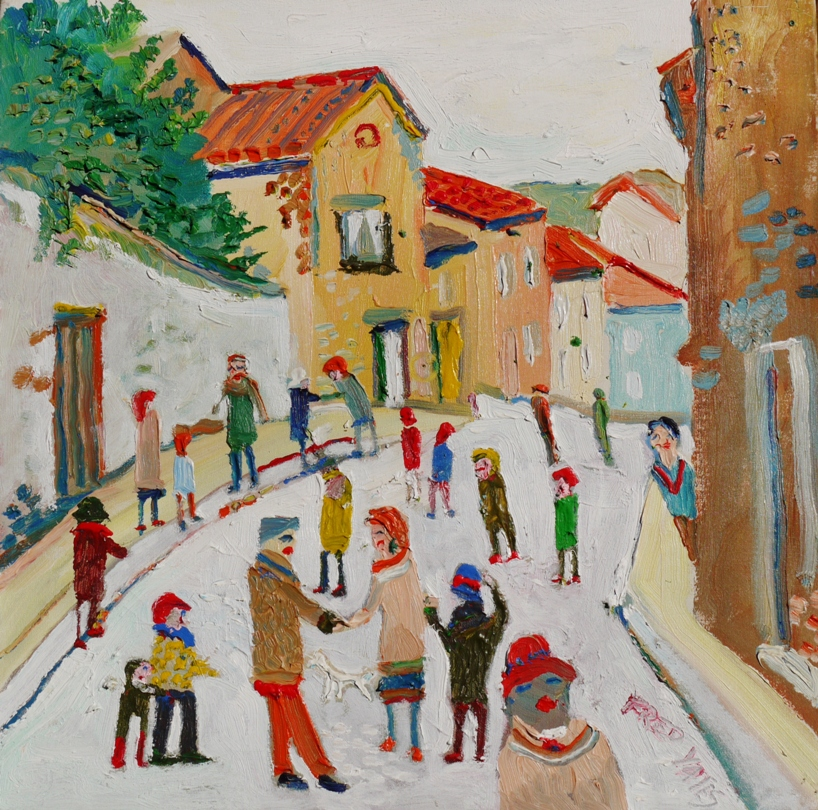 Fred Yates, a Corner of the Street in a French Village