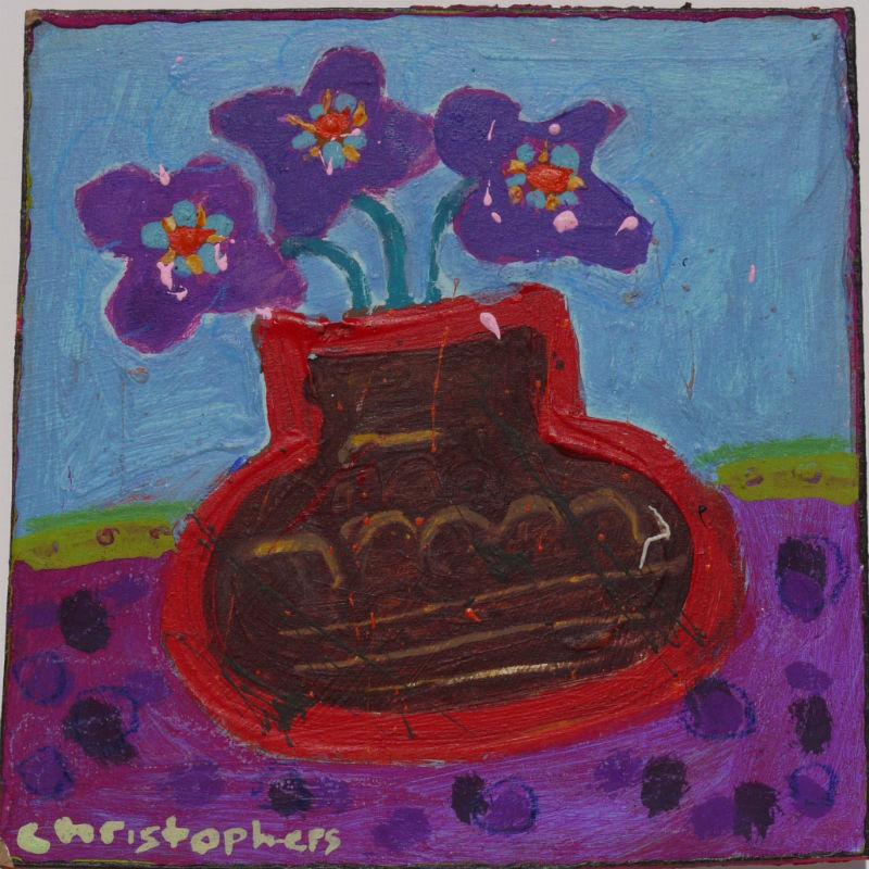 Julian Christophers, Blue Flowers, Brown Vase