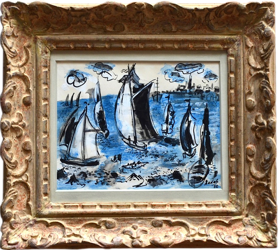 Carlos Nadal Blue Boats 1972 gouache 23x30cms signed dated framed2